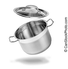 Open kitchen pot with  lid isolated on white