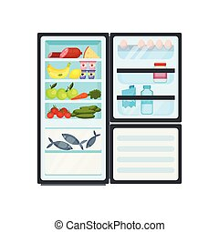 Open kitchen refrigerator full of products. Fish in freezer, dairy and meat, fresh fruits and vegetables. Flat vector