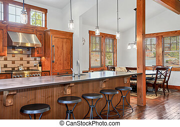 Open kitchen room with dining area.