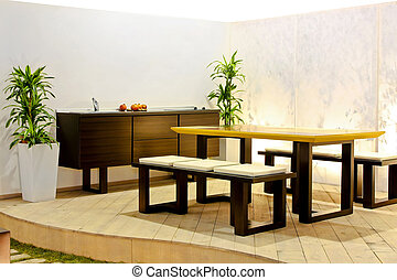 Open kitchen - Summer kitchen and dining table at terrace