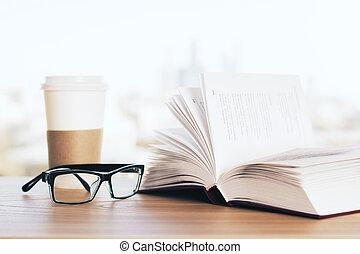 open, koffie, boek, bril