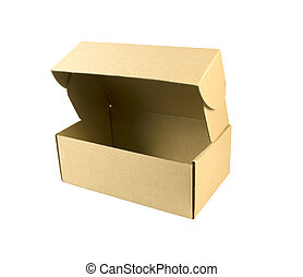 Open kraft carton box isolated on white background