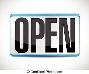 open, label, ontwerp, illustratie, meldingsbord