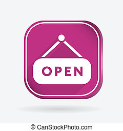 open label sign. Color square icon
