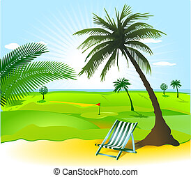 open landscape with palm tree