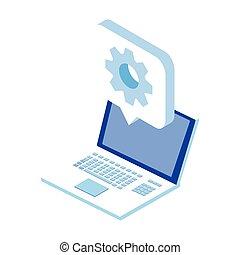open laptop on white background