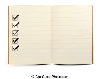 notebook with checklist - open lined notebook with checklist...