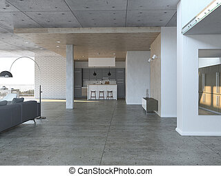Open living room with kitchen