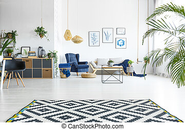 Open living room with plants