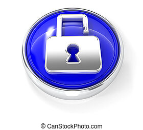 Open lock icon on glossy blue round button