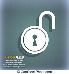open lock icon. On the blue-green abstract background with shadow and space for your text. Vector
