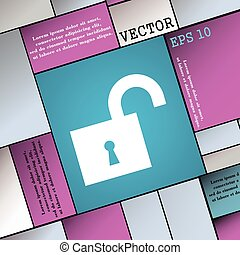 open lock icon sign. Modern flat style for your design. Vector