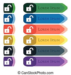 open lock icon sign. Set of colorful, bright long buttons with additional small modules. Flat design