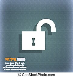 open lock icon symbol on the blue-green abstract background with shadow and space for your text. Vector
