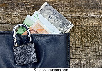 open lock on a black purse with paper bills