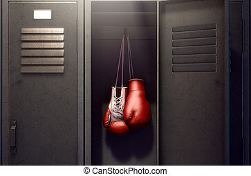 Open Locker And Hung Up Boxing Gloves