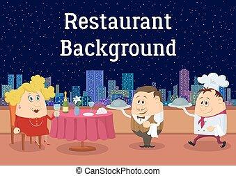 open lucht, dame, restaurant