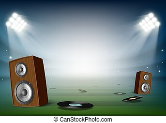 open lucht, vinyl, stadium., sprekers, festival., muziek