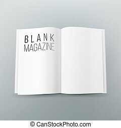 Open Magazine Spread Blank Vector. 3d Realistic Template. Empty Paper Mock Up For Design.