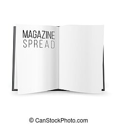Open Magazine Spread Blank Vector. Double-page Spread With Empty Pages.