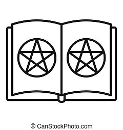 Open magic book icon, outline style