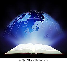 Open Magic Book - wide-open book working. Education concept...