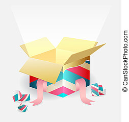 Open magic box with a beam of light - Open colorful striped...