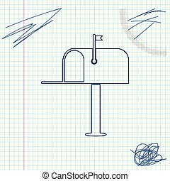 Open mail box line sketch icon isolated on white background. Mailbox icon. Mail postbox on pole with flag. Vector Illustration