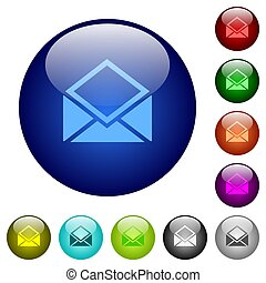 Open mail color glass buttons