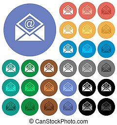 Open mail with email symbol round flat multi colored icons...