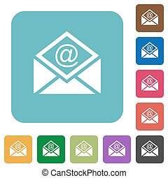 Open mail with email symbol rounded square flat icons