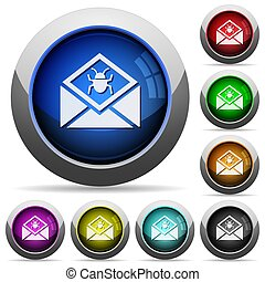 Open mail with malware symbol round glossy buttons
