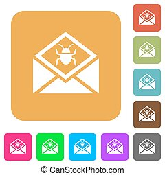 Open mail with malware symbol rounded square flat icons