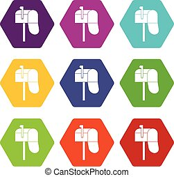 Open mailbox icon set many color hexahedron isolated on white vector illustration