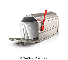 Open  mailbox  with letters  isolated on white background