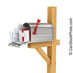 Open Mailbox With Mail and gift Isolated on White Background.