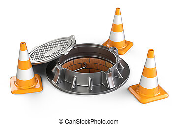 Open manhole and traffic cones.