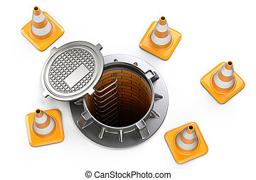 Open manhole and traffic cones - top view.