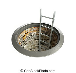 open manhole with a ladder inside
