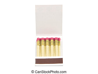 Open matchbook on white background