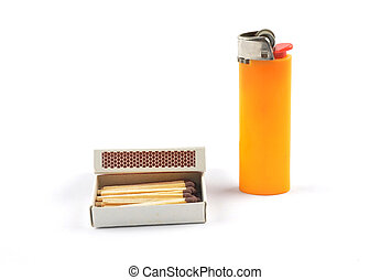 Open matchbox and lighter on white background