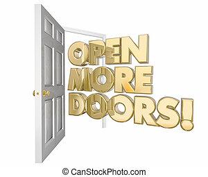 open, meer, deuren, nieuw, kansen, woord, 3d animatie