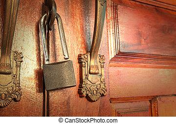 open, metaal, slot, om te, ?????? p??ta, voor, veiligheid, bescherming
