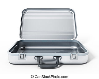 Open metal briefcase isolated on white background. 3D illustration