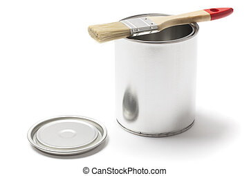 Open Metal Paint Can with a Brush