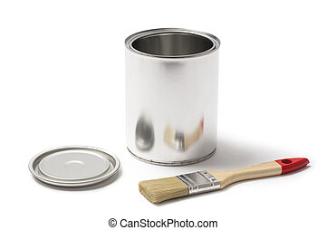 Open Metal Paint Can with a Paint Brush