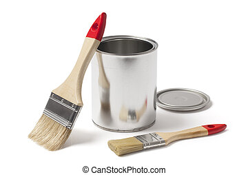 Open Metal Paint Can with New Brushes