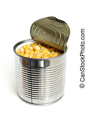 Open metallic can with sweet corn