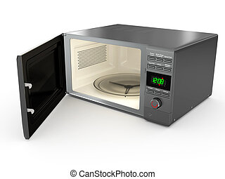 Open metallic microwave. 3d - Open metallic microwave on...