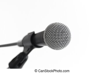 Classic dynamic microphone on a white background